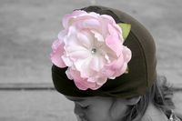 <center>Lt. Pink Peony/Chocolate Hat</center>