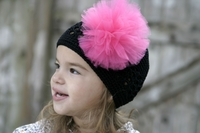 <center>Hot Pink Pom Pom/Black Knit Beanie</center>