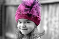 <center>Hot Pink & Black Poof/Hot Pink Beanie</center>