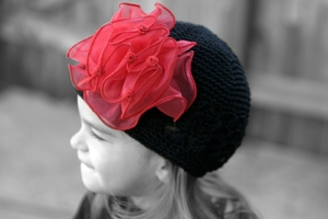 <center>Black Knit Beanie/Red Chiffon Bow</center>