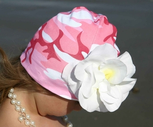 Pink Camo hat w/Pink Peony