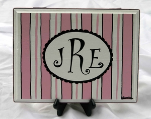 Striped Monogrammed Plaque