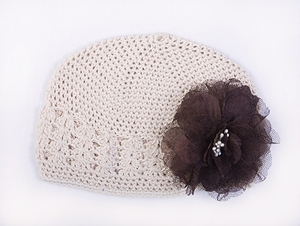 <center>Oatmeal Beanie/Chocolate Vintage Fabric Flower</center>
