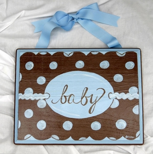 Blue & Chocolate Mod Dot Plaque