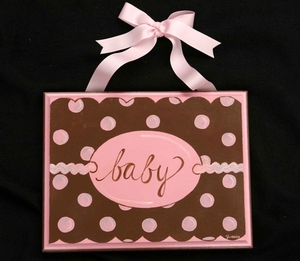 Pink & Chocolate Mod Dot Plaque