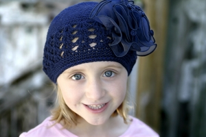 <center>Blue Knit Hat/Blue Chiffon Bow</center>