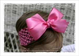 <center>Hot Pink Satin Bow Band</center>