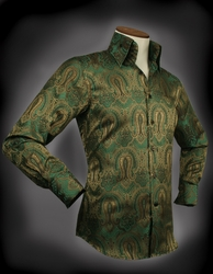 Angelino Martin Green Gold High Collar Shirt