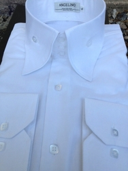 Angelino Bello White High Collar Shirt