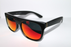 Mens Flat Black Frame Red Mirror Retro Sunglasses