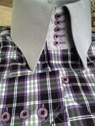 MorCouture Purple Grey Check 5 Button Collar Shirt w/Matching Hanky
