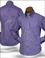 ANGELINO 'CROSS' HIGH COLLAR SHIRT -purple