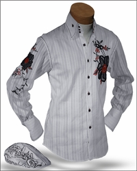 Angelino Luigi White Embroidered High Collar Shirt with matching cap