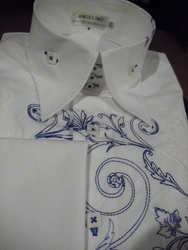 Angelino Victorian High Collar Shirt    Blue/White