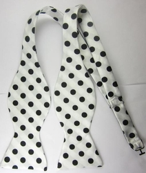 White Black Polka Dot Bowtie