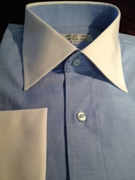 Angelino Blue White Collar and Cuffs Dress Shirt