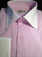 Angelino Pink White Collar and Cuffs Dress Shirt