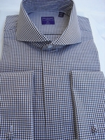 Brown Gingham Cutaway Collar French Cuff Dress Shirt