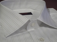 Axxess White Striped Spread Collar Dress Shirt