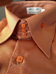 Angelino Honeycomb Orange High Collar Shirt