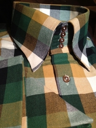 MorCouture Limited Edition Gold Green Check 4 Button High Collar Shirt w/Hanky