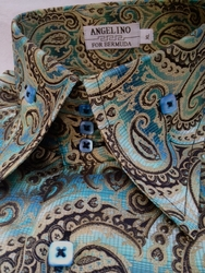 Angelino Paisley Aqua Gold High Collar Shirt
