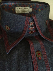 Angelino Red Stitch Denim High Collar shirt