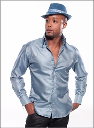 Angelino Honeycomb Blue High Collar Shirt (optional fedora hat)