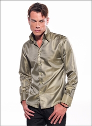 Angelino Honeycomb Green High Collar Shirt