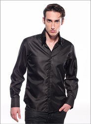 Angelino Honeycomb Black High Collar Shirt size 3XL(18)