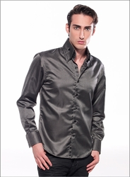 Angelino Honeycomb Gray High Collar Shirt
