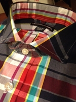 Multicolor Plaid Cutaway Collar Shirt