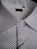 Designer White Black Pin Dot Spread Collar Dress Shirt
