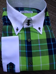 Limited Edition Green Plaid High Collar Shirt w/Hanky