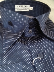 Angelino Navy White Dot High Collar Shirt