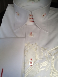 Angelino Pegasus White High Collar Shirt with Red accent