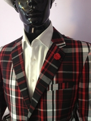 Angelino Red Black Check Blazer