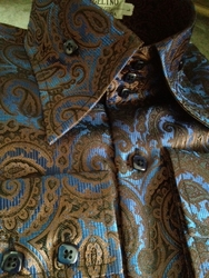 Angelino Brown Blue Paisley High Collar Shirt size L(16.5)
