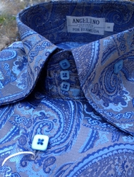 Angelino Paisley Blue High Collar Shirt (Optional Matching Fedora Hat)