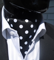Black White Polka Dot Ascot and matching Hanky