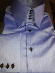 MorCouture Blue Oxford 4 Button High Collar Shirt  -Special Order