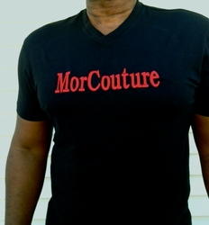 MorCouture Embroidered<br> V neck T-Shirt