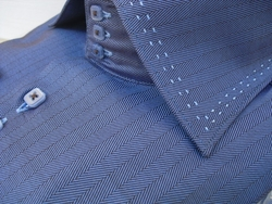 Axxess Blue Herringbone High Collar Shirt