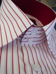 Axxess White Red Pinstripe High Collar Shirt