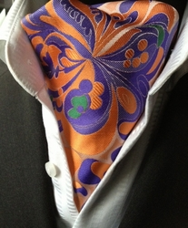 Orange Purple Patterned Silk Woven Ascot w/Matching Hanky