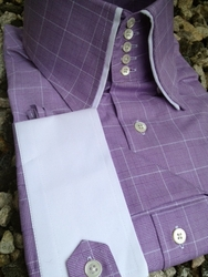 MorCouture Lavender Check 5Button Centipede High Collar w/Hanky