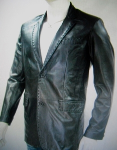 MorCouture Black Lambskin Leather Blazer