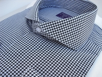 Black Gingham Cutaway Collar French Cuff Dress Shirt