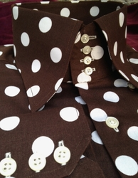 MorCouture Brown White Polka Dot 4 Button High Collar Shirt w/Hanky