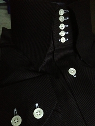 MorCouture Black Twill 5 Button Collar Shirt